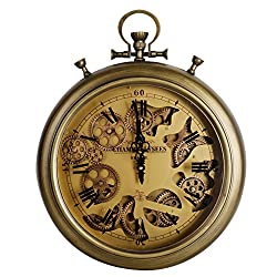 NIKKY HOME Industrial Style Vintage Moving Gear Pocket Wall Clock, Bronze