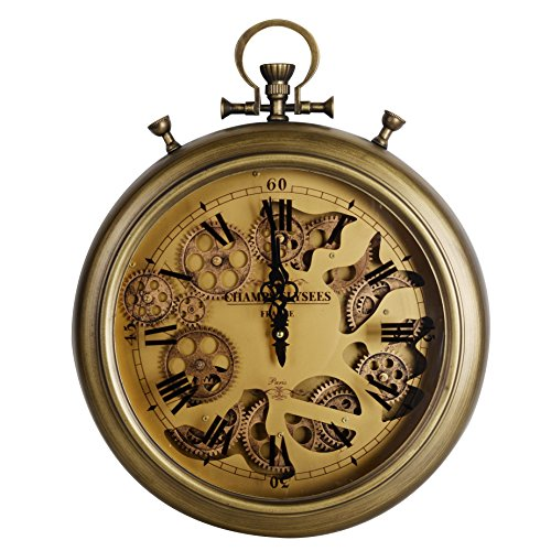 NIKKY HOME Industrial Style Vintage Moving Gear Pocket Wall Clock, Bronze (Visible Clock Gears With)