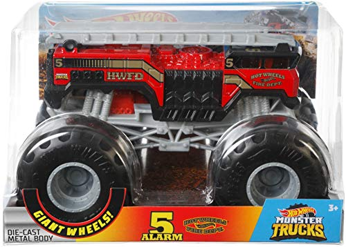 Hot Wheels Monster Trucks Alarm #2 die-cast 1:24 Scale Vehicle with Giant Wheels for Kids Age 3 to 8 Years Old Great Gift Toy Trucks Large Scales