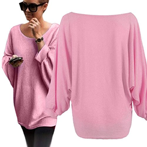 Fheaven Women O-Neck Oversized Batwing Knitted Pullover Loose Sweater (S, pink)