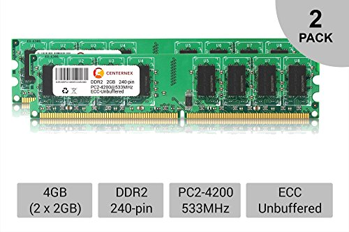 4GB KIT 2 x 2GB DIMM DDR2 ECC Unbuffered PC2-4200 533MHz 533 MHz 4G Ram Memory by CENTERNEX (Ecc Kit 533)