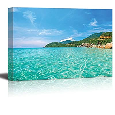 Panoramic View of a Tropical Beach Islands with Vivid Clear Sea Water Pretty Endless Beach - Canvas Art Wall Art - 24