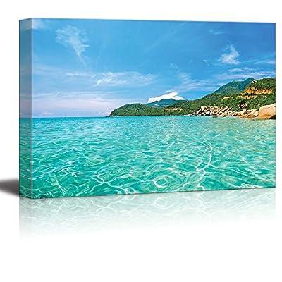 Panoramic View of a Tropical Beach Islands with Vivid Clear Sea Water Pretty Endless Beach - Canvas Art Wall Art - 16