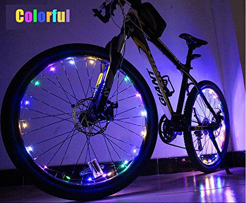 2 Pack Soondar Bike Wheel Lights Front and Back Bright Bike Rim Lights Waterproof 20-LED Spoke Light Battery Powered for Mountain Roads and Night Cycling 2 BLUE