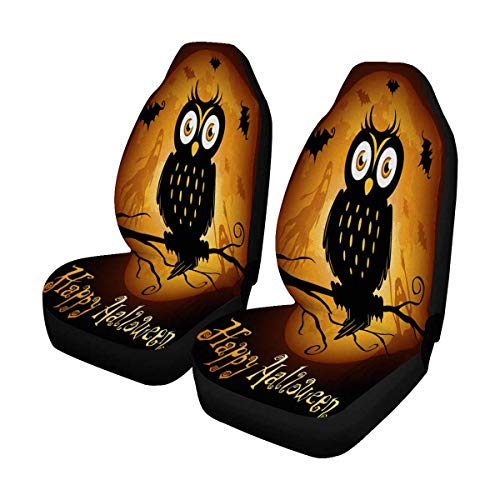 INTERESTPRINT Halloween Owl Silhouette on Moon Auto Seat Covers Full Set of 2, Vehicle Seat Protector Fit Car, Truck, SUV,Van