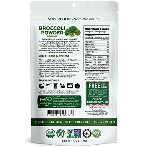Biofinest Broccoli Powder -100% Pure Freeze-Dried Antioxidant Superfood - USDA Certified Organic Kosher Vegan Raw Non-GMO - Digestion & Immunity - For Smoothie Beverage Blend (4 oz Resealable Bag)