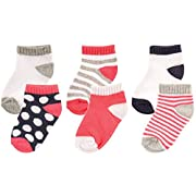 Luvable Friends 6-Pack No Show Socks, Pink and Gray, 0-6 Months