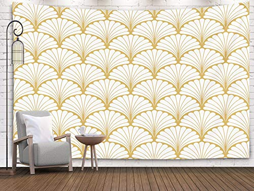 Jacrane Art Psychedelic Tapestry Gold Geometric Wall Hanging,Floral Art Nouveau Pattern Geometric Leaves Texture Retro Stylish Background Tapestries with 80X60 Inches for Dorm Bedroom Home Decor
