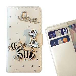 - Zebra Love You - 3D hecho a mano de la manera cristalina de Bling del Rhinestone de la PU de la carpeta del tir???¡¯?? - Funny Shop For Sony Xperia Z5 compact / mini