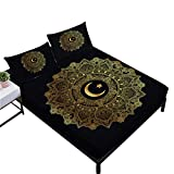 Rhap Sheets Queen Size,Ethnic Mandala Style Queen Size Bedding Sheets Set of 4 Pieces,Home Decor Black Gold Moon Star Printed Queen Size Fitted Sheet Set