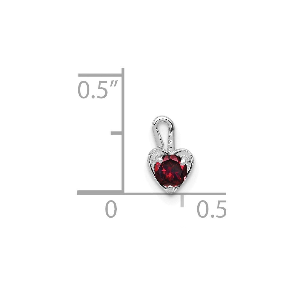 14K White Gold July Synthetic Birthstone Heart Charm Pendant