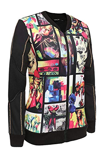 Donna Taglie Libero Vintage Nero Schwarz Casuale Donne Tendenza Giacca Autunno Cappotto Bomber Tempo Forti Maniche Stampato Primaverile Eleganti Fashion Battercake Outerwear Lunghe Giacche gETqxpE5