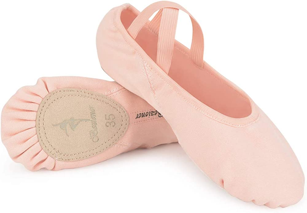 Boys Girls CANVAS BALLET SHOES Pre-Sewn Elastics Black White Pink REDUCED