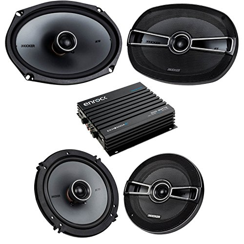 Car Speaker Bluetooth Streming Set Bundle Combo With 2 Kicker 41KSC654 6.5 inch 2-Way Vehicle Stereo Speakers + 2 Kicker 41KSC694 6x9