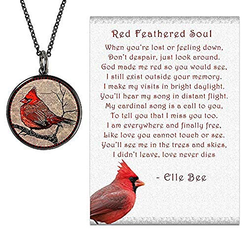 Lola Bella Gifts and Spirit Lala Cardinal Necklace with Backside Love Never Dies and Red Feathered Soul Poem Card, Gift Box Grief Sympathy
