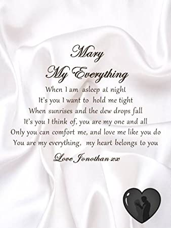 Personalised Romantic Poem Scroll - My Everything (A5) Love Letter