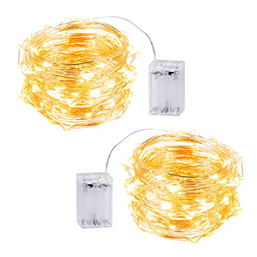 LED Fairy String Lights with 33ft 100 Micro LEDs Silver Wire Window Curtain Twinkle Lights 2 Set Battery Opearated UL588 Approved for Wedding, Bedroom, Bed Canopy, Patio, Indoor(Warm -