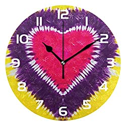 Dozili Rainbow Tie Dye Decorative Wooden Round Wall Clock Arabic Numerals Design Non Ticking Wall Clock Large for Bedrooms, Living Room, Bathroom