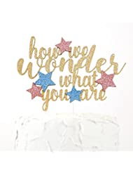 NANASUKO Cake Topper - how we wonder what you are - Premium quality Made in USA - gold glitter with pink and blue stars