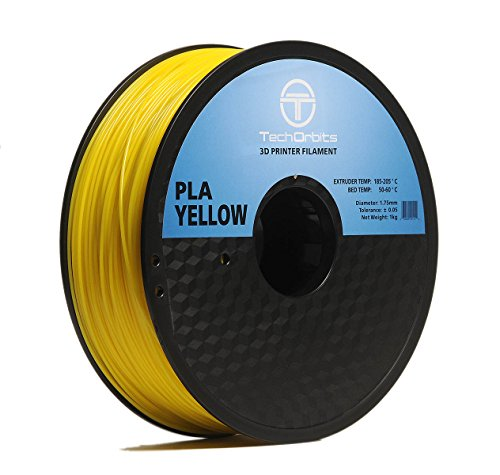 TechOrbits 3D PLA-1KG1.75-Yellow PLA 3D Printer Filament, Dimensional Accuracy +/- 0.05 mm, 1 kg Spool, 1.75 mm, Yellow