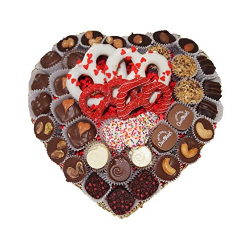 Miami Beach Chocolates Vegan Blissful Heart Truffle Basket, Pretzels, Fresh Made To Order, Kosher Parve