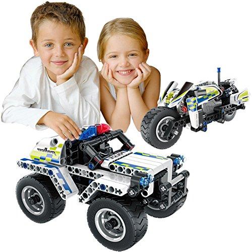 BIRANCO. Police Car, Stunt Bike Building Block Kit Set - DIY STEM Construction Toys for Kids Age 6 7 8 9 10 11 12 13 14 Year Old Boys (Pack of 2)