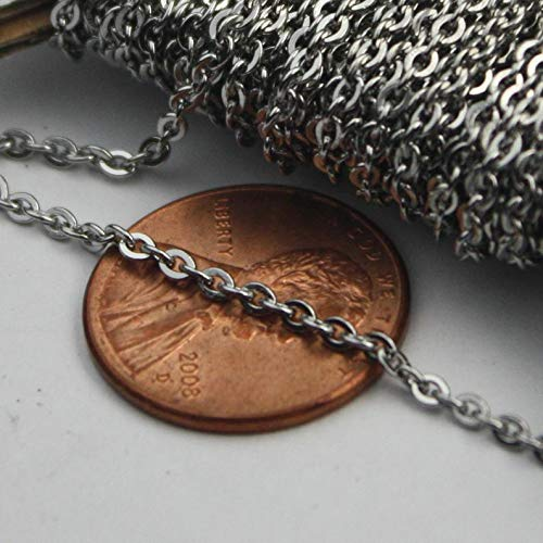 30 feet Stainless Steel Chain Surgical Small Soldered Sturdy Flat Cable Chain - 1.8mm SOLDERED Link Bulk Chain