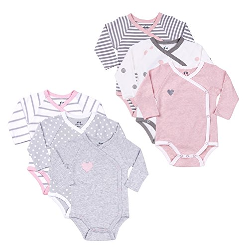 Twin Outfit Baby Girls' Clothing Set 3-6 Month 6-Pack Side-Snap Kimono Bodysuits