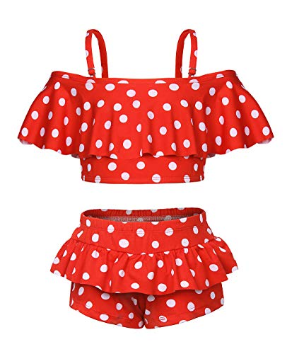 AmzBarley Girls Tankini Bathing Suit Two Pieces Pool Party Bikini Swimsuits Kids Ruffle Polka Dot Beach Sport Bathing Suit Water Swimming Lesson Sunsuit Size 8-9 Years Red