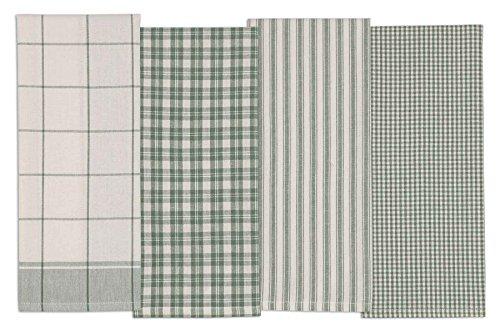 DII 5828 Urban Stripe & Basic Dishtowels, 18x28, Sage S/4, 4 Piece (Sage Dishes Green)