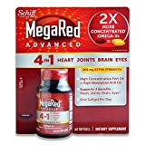 Schiff MegaRed Advanced 4 in 1 Heart Joints Brain Eye 60 Softgels 900mg Extra Strength by Schiff MegaRed