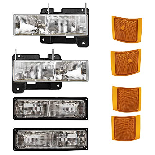 8 Piece Set Composite Headlights w/Front, Upper & Lower Side Signal Marker Lamps Replacement for Chevrolet SUV Pickup Truck