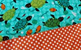 Toddler Pillowcase with Sea Turtles Youth Pillowcase Fits 12'' x 16'' Pillow. Handmade With Cotton Fabrics.