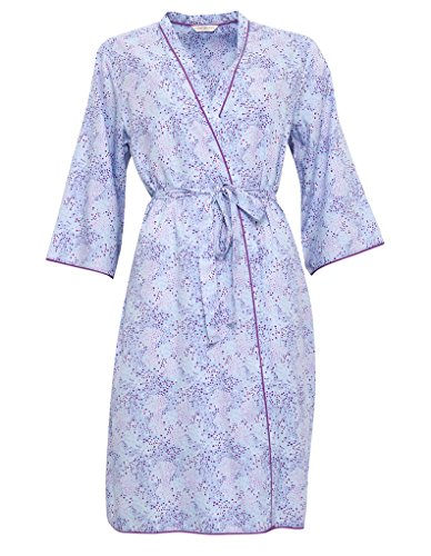 Cyberjammies 3299 Women's Elsie Blue Spot Print Cotton and Modal Dressing Gown Loungewear Bath Robe Robe