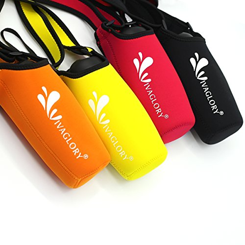 (Vivaglory Water Bottle Carrier, Insulated Neoprene Water Bottle Sling with Wide Adjustable Shoulder Strap for Daily Walking, Hiking and Other Outdoor Activities, Classic Black)