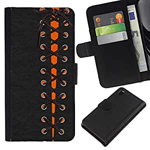 EJOY---La carpeta del tirón la caja de cuero de alta calidad de la PU Caso protector / Sony Xperia Z3 D6603 / --Vestido Goth Boots arco Moda