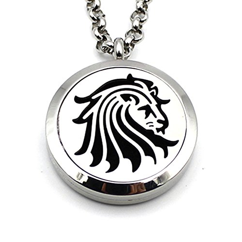 Stainless Steel Animal Beast Lion Aromatherapy Essential Oil Diffuser Amulet Necklace Carving Locket Pendant,10 Felt ()