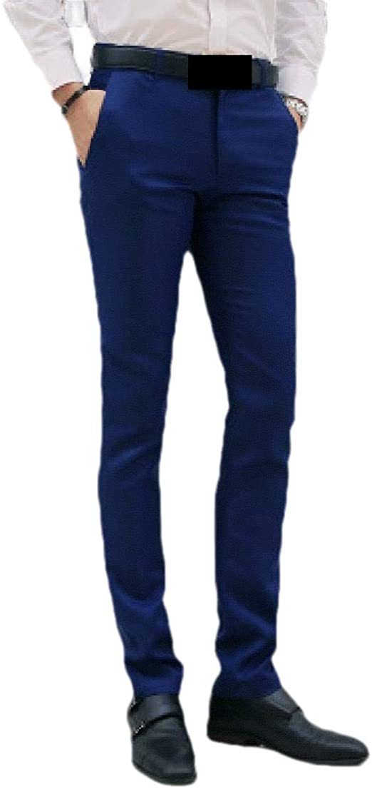 Candiyer Mens Cotton Business Straight Slim-Fit Casual Loose Plain Front Pant