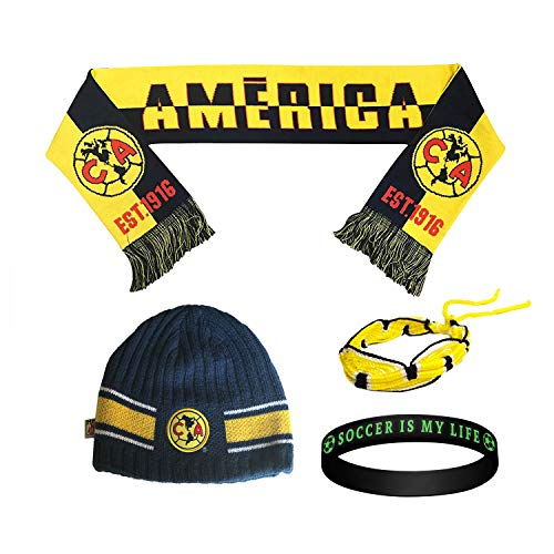 Club America Aguilas Mexico Soccer Set Beanie Skull Cap Hat and Scarf Reversible + 2 Bracelet Set 4 Pcs amer009