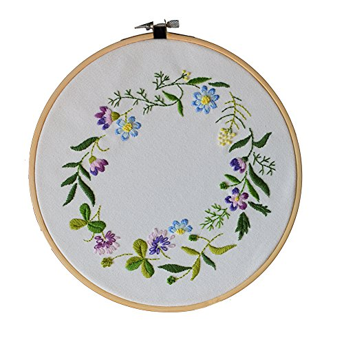 ADCorner DIY Embroidery Starter Kit Pre Printed Hand Needlework Pattern Fabric including 8'' Bamboo Hoop Color Threads Spring Floral Wedding Decor by ADCorner