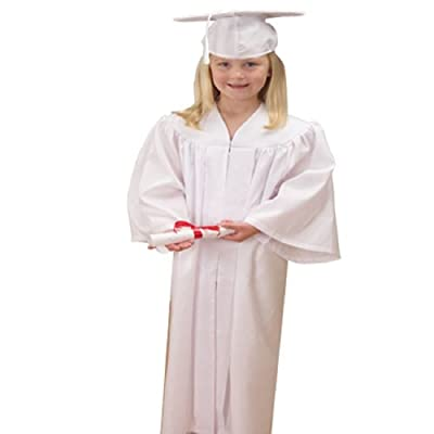 """US Toy -Kids White Graduation Cap & Gown, Polyester, Gown Size: 36"""" L x 26"""" W: Clothing"""