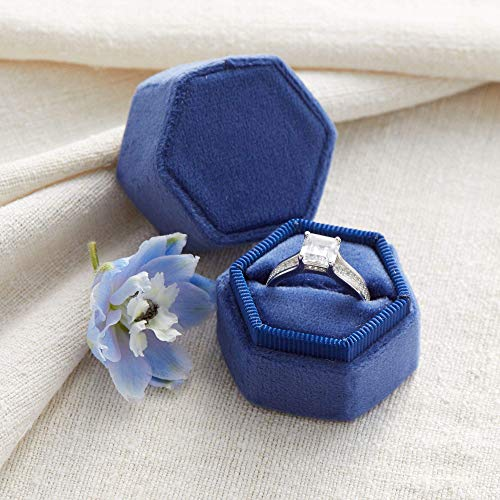 Velvet Ring Box Blue, Hexagon Shape, Engagement Ring Box, Ring Bearer Box, Wedding Ring Box, Wedding Photo Shoot, Engagement Photo Shoot, Bridal Gift