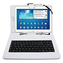 """Etui aspect cuir blanc + clavier intégré AZERTY (français) + port de maintien pour tablettes Samsung Galaxy Tab 3 P5200/P5210/ P5220, Note Edition 2014 (SM-P600) et Tab Pro 10,1"""" (SM-T520) + stylet tactile BONUS"""