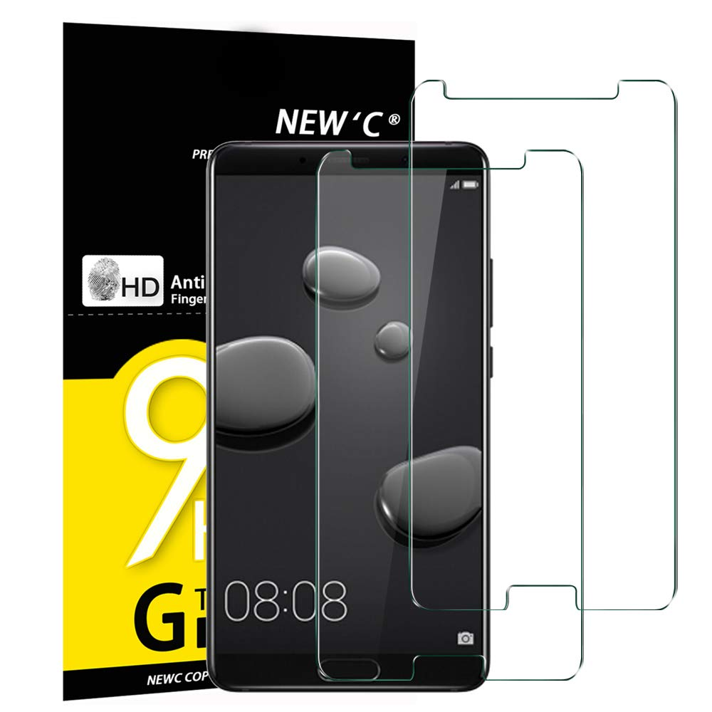 NEW'C Pack of 2, Glass Screen Protector for Huawei Mate 10, Anti-Scratch, Anti-Fingerprints, Bubble-Free, 9H Hardness, 0.33mm Ultra Transparent, Ultra Resistant Tempered Glass