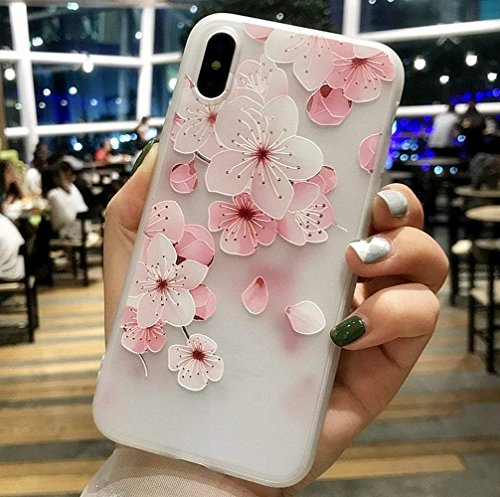 iPhone X Soft Case,LuoMing 3D Emboss Beautiful Flower Pattern Slim fit Shock-Absorbing Soft Rubber Clear TPU Skin Cover Case for iPhone X 5.8inch(2017) (Cherry Blossom)