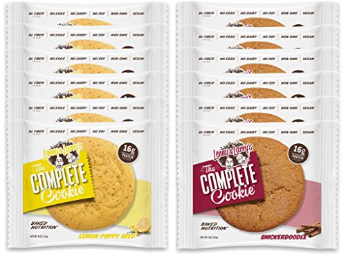 Lenny & Larry's The Complete Cookie - 6 Lemon Poppy Seed and 6 Snickerdoodle (Pack of 12)