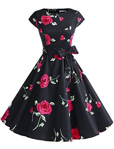 (Dressystar DS1956 Women Vintage 1950s Retro Rockabilly Prom Dresses Cap-Sleeve XS Black Red)