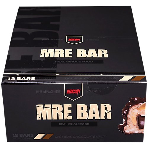 Redcon1 - MRE Bar - Oatmeal Chocolate Chip 12 Bars - Meal Replacement Bar - Protein