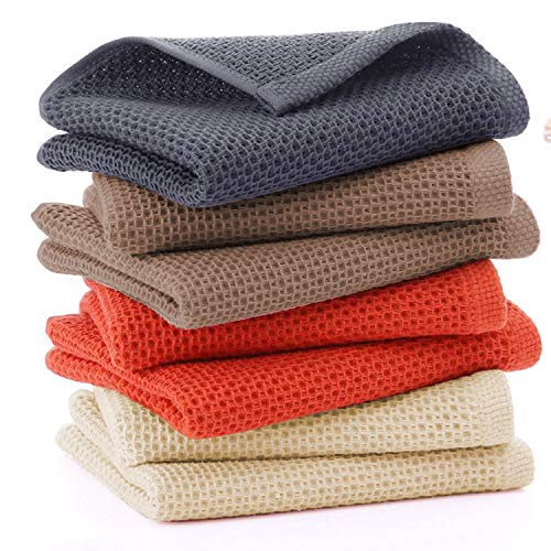 Homaxy 100% Cotton Waffle Weave Kitchen Dish Cloths, Ultra Soft Absorbent Quick Drying Dish Towels, 12x12 Inches, 6-Pack, Dark Grey
