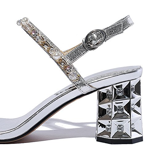 Femme AdeeSu SLC04208 Bout Silver Ouvert XqfPq